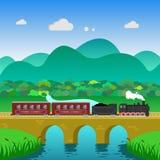Zuglandschaftsgebirgshügel-Waldfluß Stockfoto
