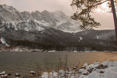 Zugspitze above Eibsee lake in winter time. Bavaria. Germany. Stock Photos