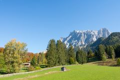 Zugspitze Alps view from Ehrwald, Tirol, Austria royalty free stock photos