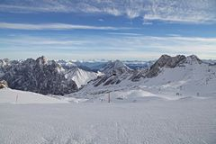 Zugspitze alps mountain snow ski winter blue sky landscape garmisch germany Stock Image