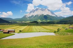 Zugspitze, Austria. View from the meadow to the Zugspitze, Austria Royalty Free Stock Photography