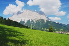 Zugspitze, Austrian Alps. View from the alpine village Lermoos on Zugspitze, Austrian Alps Royalty Free Stock Photos