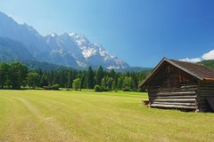 Zugspitze, Germany. View from the meadow to the Zugspitze, Germany Stock Photo