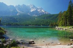 Zugspitze, Germany. View of a mountain lake Eibsee and Zugspitze, Germany Stock Photography