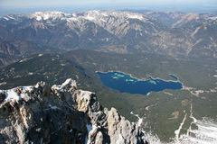 Zugspitze high mountains lake view, Germany. Zugspitze mountains range lake view, Germany Royalty Free Stock Photography