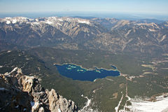Zugspitze high mountains lake view, Germany. Zugspitze mountains range lake view, Germany Royalty Free Stock Photos