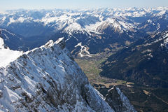 Zugspitze high mountains valley view, Germany. Zugspitze high mountains valley landscape, Germany Royalty Free Stock Photo