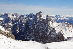 Zugspitze high mountains in winter light. Zugspitze high mountains range, Germany Stock Photos