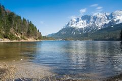 Zugspitze and lake Eibsee Royalty Free Stock Image