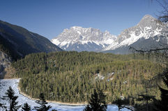 Zugspitze, mountain. Zugspitze, alp mountain landscape view Royalty Free Stock Photos