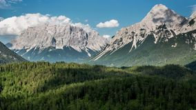 Zugspitze Mountains With Flowing Clouds Timelapse Royalty Free Stock Images