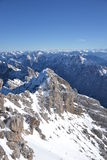 Zugspitze. A nice winter day in the highest point in the Alps - Zugspitze in Germany Royalty Free Stock Photography