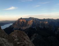 Zugspitze peak at sunset, Germany Royalty Free Stock Photography