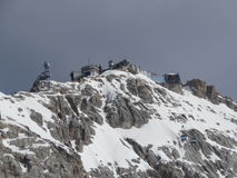 Zugspitze - ropeway toppost Stock Foto's