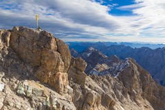Zugspitze summit with mountaineer, Alps, Germany Stock Photo