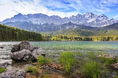 Eibsee lake and Zugspitze, Germany Stock Images