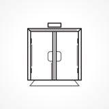 Zuhause Glastürschwarzlinie Ikone Lizenzfreie Stockfotografie