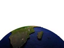 Zuid-Afrika bij nacht op model van Aarde met in reliëf gemaakt land Royalty-vrije Stock Fotografie