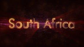 Zuid-Afrika - de Glanzende het van een lus voorzien animatie van de de naamtekst van het land stock foto