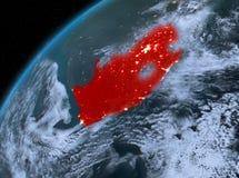 Zuid-Afrika op aarde in ruimte bij nacht Stock Foto's