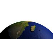 Zuid-Afrika op model van Aarde met in reliëf gemaakt land Royalty-vrije Stock Foto