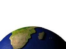 Zuid-Afrika op model van Aarde met in reliëf gemaakt land Stock Fotografie