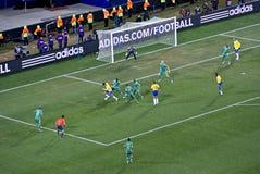 Zuid-Afrika versus Kop 09 van Brazilië - van FIFA Confed Stock Fotografie