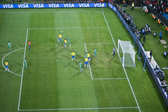 Zuid-Afrika versus Kop 09 van Brazilië - van FIFA Confed Stock Afbeelding