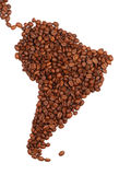 Zuid-Amerika dat met koffie wordt gemaakt royalty-vrije stock foto's