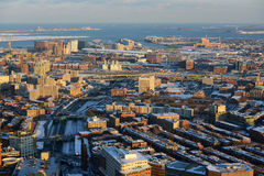 Zuid-Boston en de Haven van Boston, Boston, Massachusetts, de V.S. Stock Afbeelding