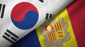 Zuid-Korea en Andorra twee vlaggen textieldoek, stoffentextuur royalty-vrije illustratie