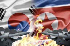 Zuid-Korea en Noord-Korea Stock Foto
