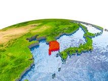 Zuid-Korea op model van Aarde Royalty-vrije Stock Afbeeldingen