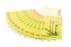 Zuid-Korea won contant geld Royalty-vrije Stock Afbeeldingen