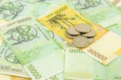 Zuid-Korea won contant geld Stock Afbeelding