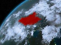 Zuid-Soedan op aarde in ruimte bij nacht Stock Foto's