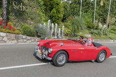 Zuid-Tirol Rallye 2016_ Austin Healey 100-6 MILJARD 4_red Royalty-vrije Stock Foto