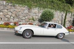 Zuid-Tirol Rallye 2016_Jaguar E-Type_white_side Royalty-vrije Stock Afbeelding