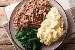 Zuidafrikaans voedsel: - Seswaa verscheurd rundvlees met sadzahavermoutpap a royalty-vrije stock afbeeldingen