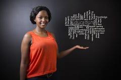 Zuidafrikaanse of Afrikaanse Amerikaanse vrouwenleraar of student tegen het diagram van het bordonderwijs royalty-vrije stock foto