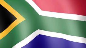 Zuidafrikaanse vlag die in wind golven stock footage