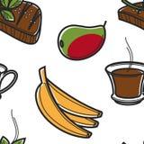 Zuidafrikaanse voedselvruchten drank en vlees naadloos patroon stock illustratie