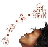 Zuidafrikaanse vrouw die. droomt. Royalty-vrije Stock Afbeeldingen