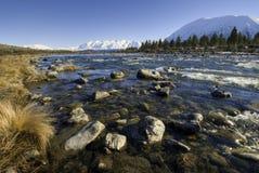Zuidelijke Alpen, zuideneiland, Nieuw Zeeland Stock Foto's