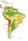 Zuiden Amerika-Fysieke kaart Royalty-vrije Stock Foto's