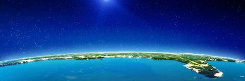 Zuiden de V.S. van ruimte bij nacht vector illustratie