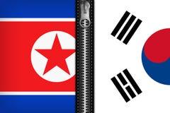 Zuiden en de vlag van Noord-Korea royalty-vrije illustratie