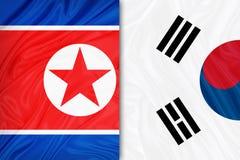 Zuiden en de vlag van Noord-Korea vector illustratie