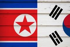 Zuiden en de vlag van Noord-Korea stock illustratie