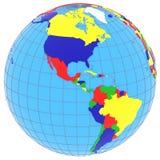 Zuiden en Noord-Amerika op de bol stock illustratie